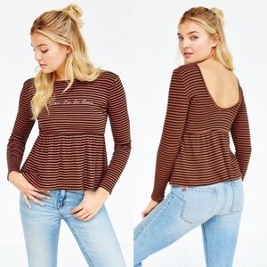 UO / TRULY MADLY DEEPLY / PEPLUM STRIPED TOP